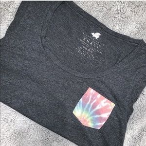 Gray PacSun shirt with tie-dye pocket